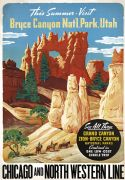 Vintage Travel Poster Bryce Canyon, Utah